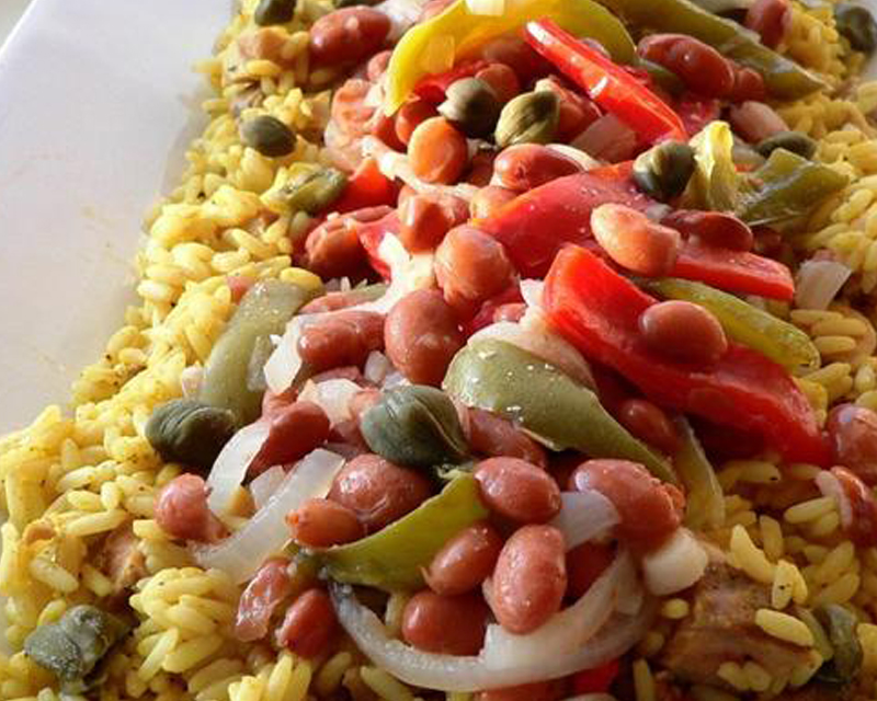 Turmeric Rice and Beans With Onions, Peppers and Capers